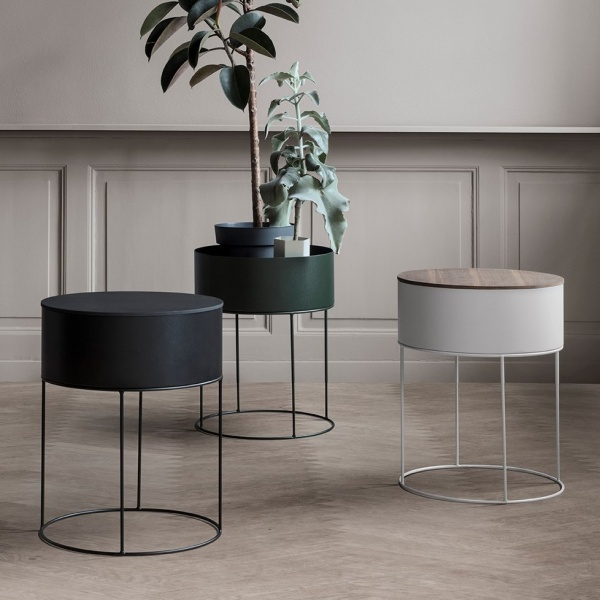 ferm living plant box rund sort mitt hjem as. Black Bedroom Furniture Sets. Home Design Ideas